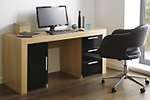 High gloss office desk and leather chair