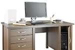 Wood veneer desk with cupboard and drawers