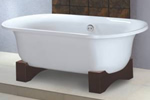 Double ended bath with oak legs