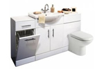 Gloss white vanity unit with linen basket