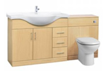 Beech bathroom vanity unit