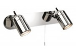 Halogen bathroom wall light in polished chrome