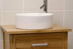 Oak bathroom cabinets with washbasin