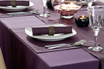 Purple tablecloths