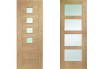 Modern glass panelled oak interior doors