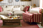 Striped sofa and armchair suite