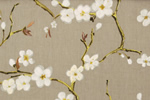 Printed floral curtain fabric