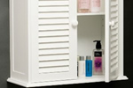 Shutter door white bathroom cabinet